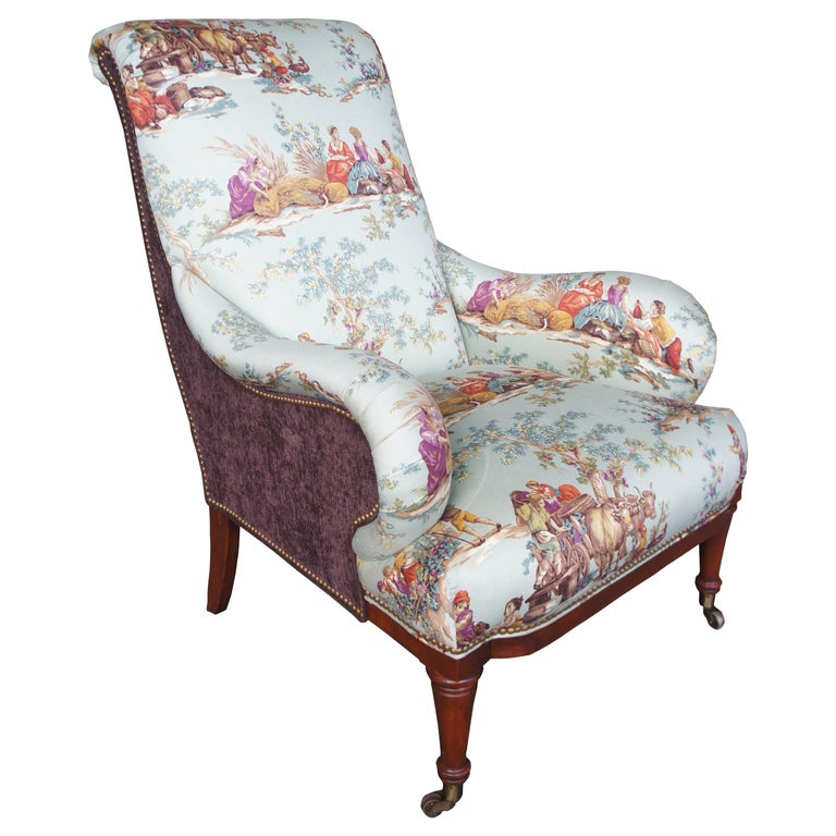 Hickory White Overstuffed Chair Rolled Arms Toile Fabric Corduroy Club Lounge For Sale