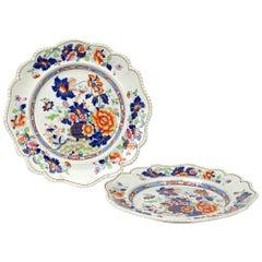 Hicks & Meigh English Stoneware Imari Patterned Cabinet Plates, circa 1818