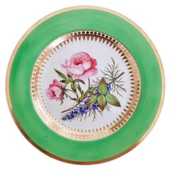 Hicks & Meigh Porcelain Plate, Green with Hand Painted Rose, Regency circa 1820
