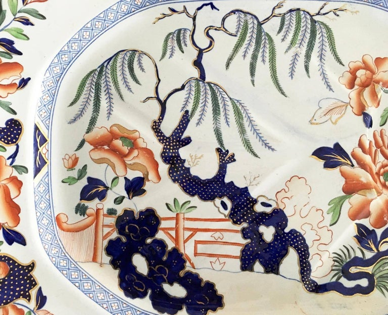 Polychromed Hicks & Meigh Staffordshire Meat Platter, circa 1815 For Sale