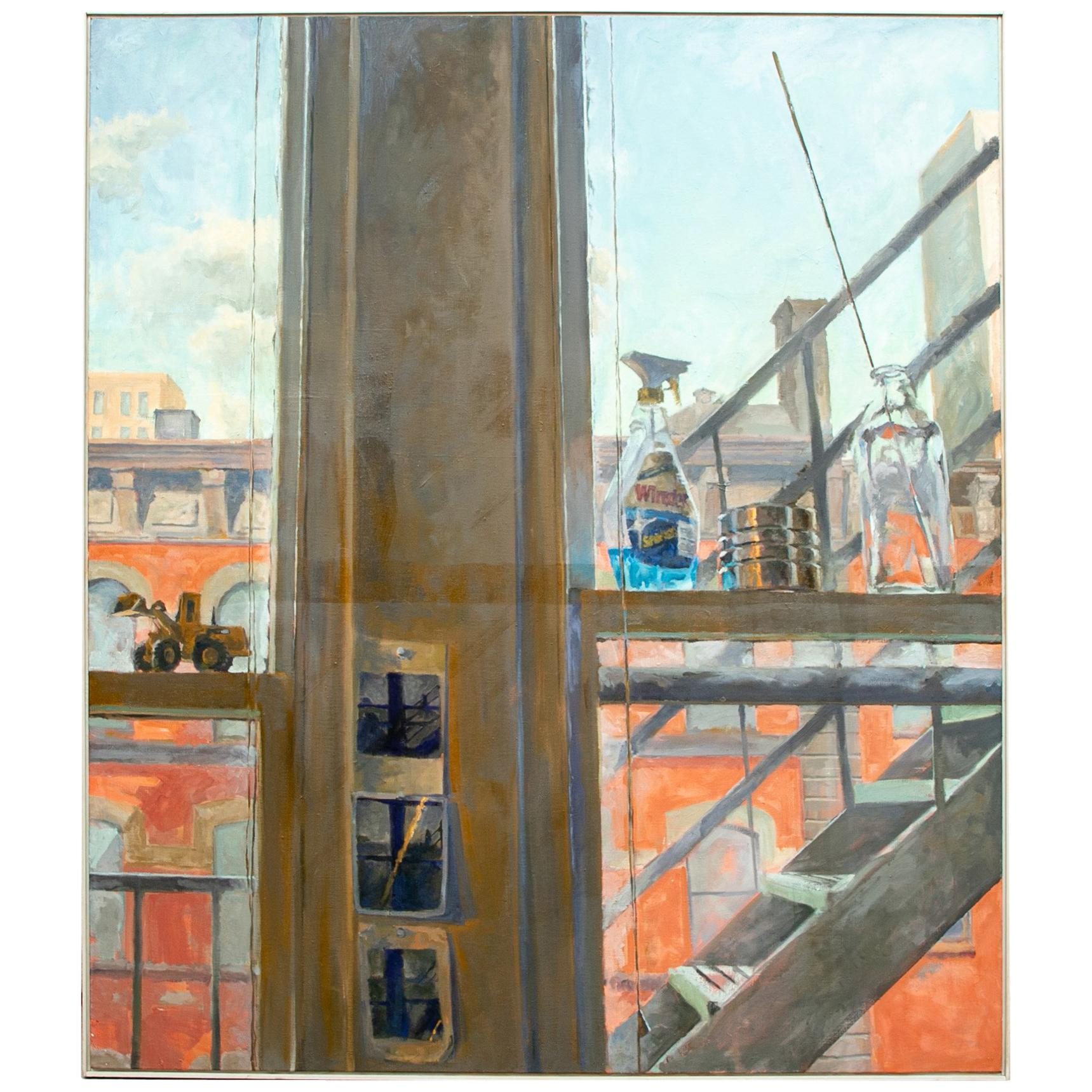 Hicks, Signed Modern Oil on Canvas, Modern Industrial Scene
