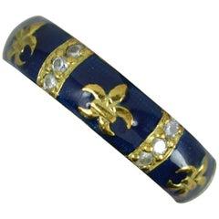 Hidalgo 18 Carat Gold Diamond and Blue Enamel Fleur de Lis Stack Band Ring