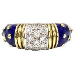 Hidalgo 18 Karat Diamond and Blue Enamel Ring