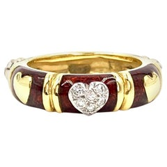 Hidalgo 18 Karat Diamond and Enamel Heart Ring