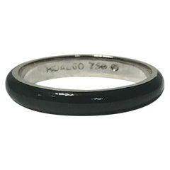 Hidalgo 18 Karat Gold and Black Enamel Fashion or Stacking Ring