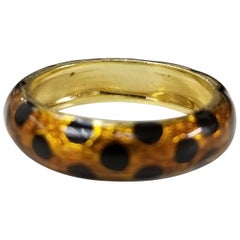 Hidalgo 18 Karat Gold and Enamel Ring with Orange Leopard and Black Enamel