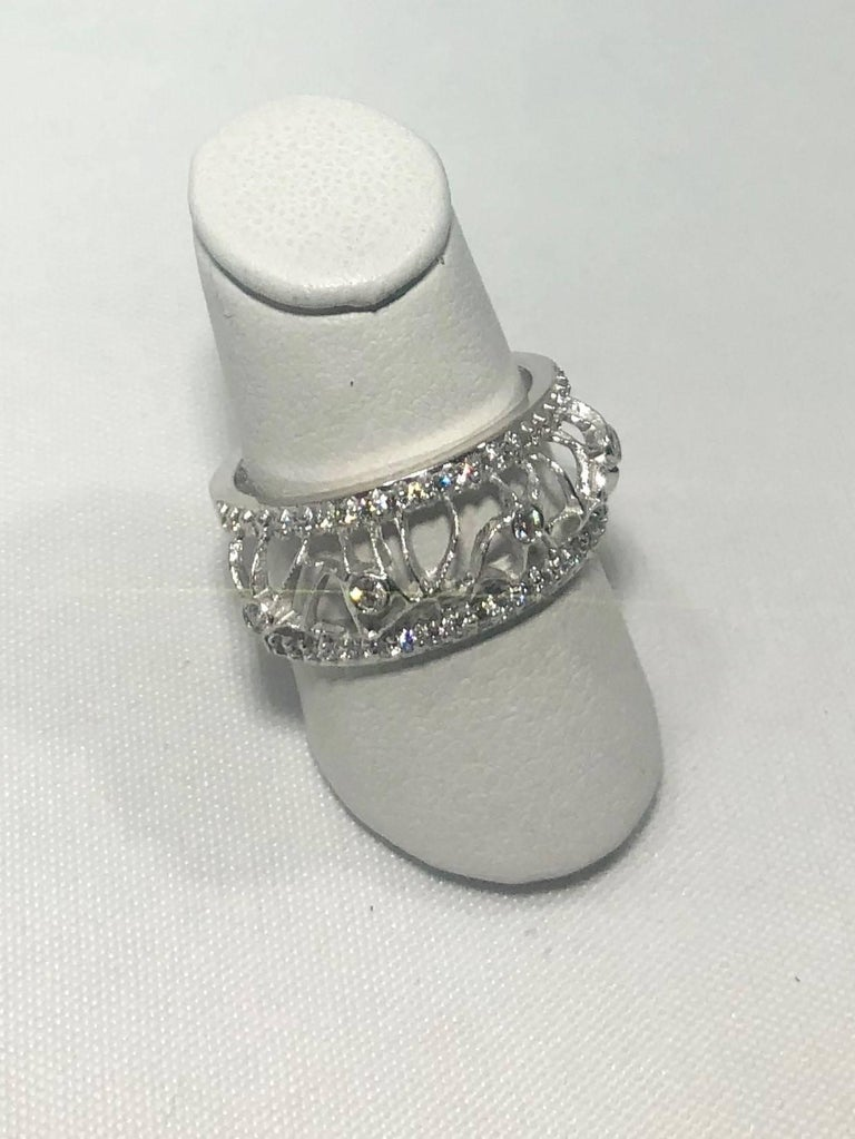 Round Cut Hidalgo 18 Karat White Gold and Diamond Avant-Garde Jacket Ring For Sale