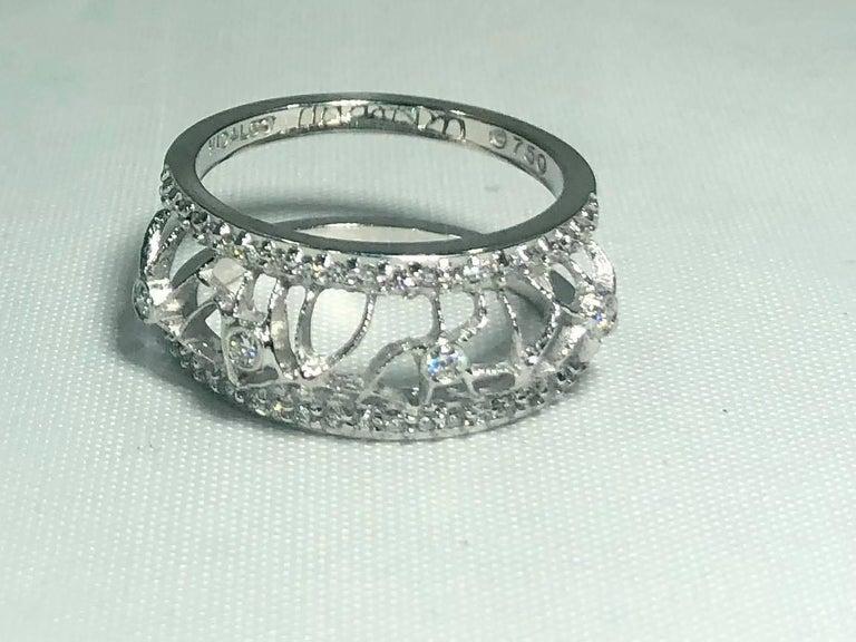 Women's or Men's Hidalgo 18 Karat White Gold and Diamond Avant-Garde Jacket Ring For Sale