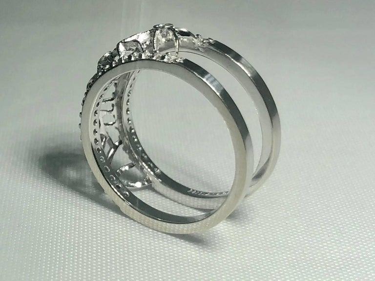 Hidalgo 18 Karat White Gold and Diamond Avant-Garde Jacket Ring For Sale 1