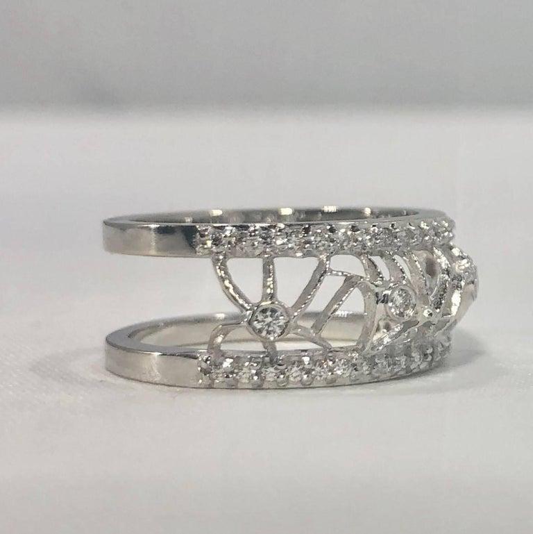 Hidalgo 18 Karat White Gold and Diamond Avant-Garde Jacket Ring For Sale 2