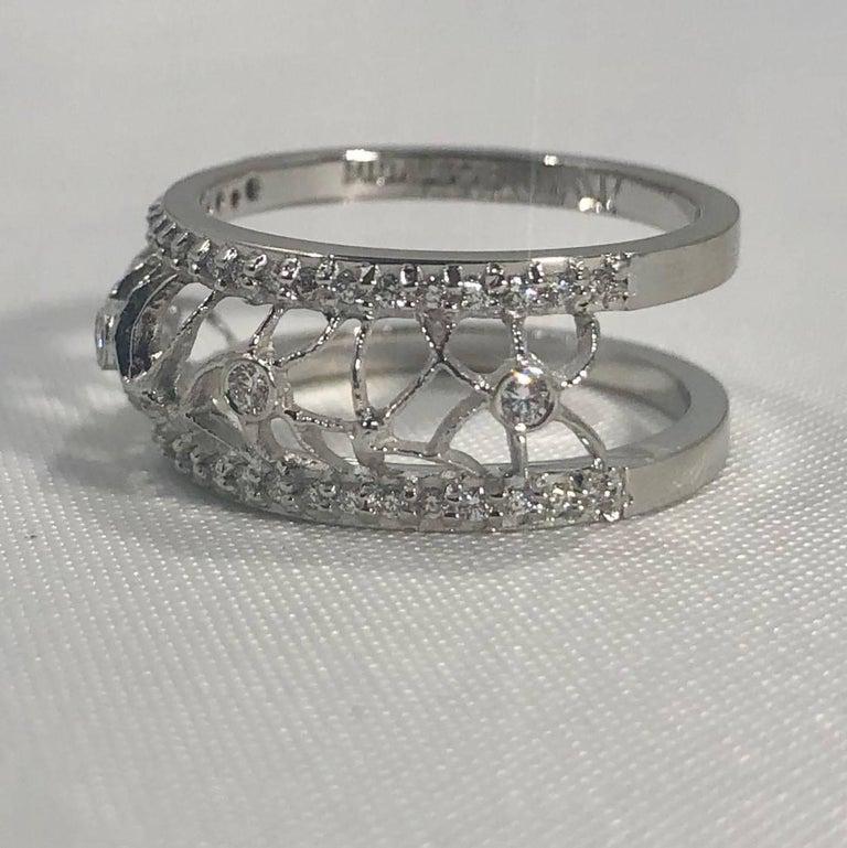 Hidalgo 18 Karat White Gold and Diamond Avant-Garde Jacket Ring For Sale 3