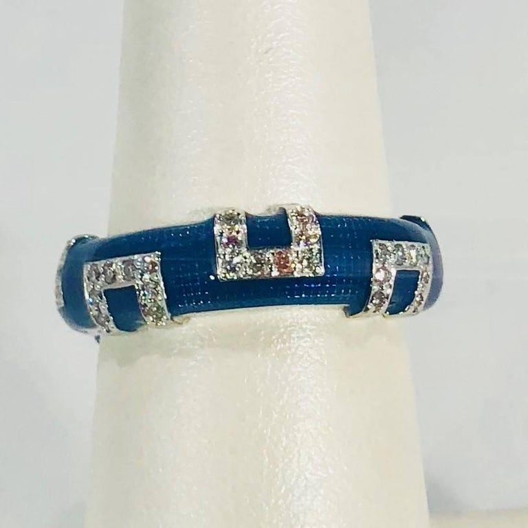 Modern Hidalgo 18 Karat White Gold and Diamond with Bright Blue Enamel Band Ring For Sale