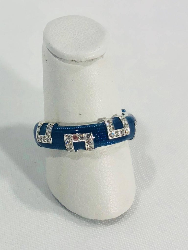 Round Cut Hidalgo 18 Karat White Gold and Diamond with Bright Blue Enamel Band Ring For Sale