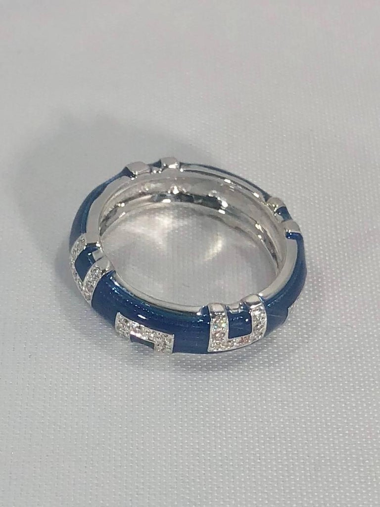 Hidalgo 18 Karat White Gold and Diamond with Bright Blue Enamel Band Ring In New Condition For Sale In Mansfield, OH