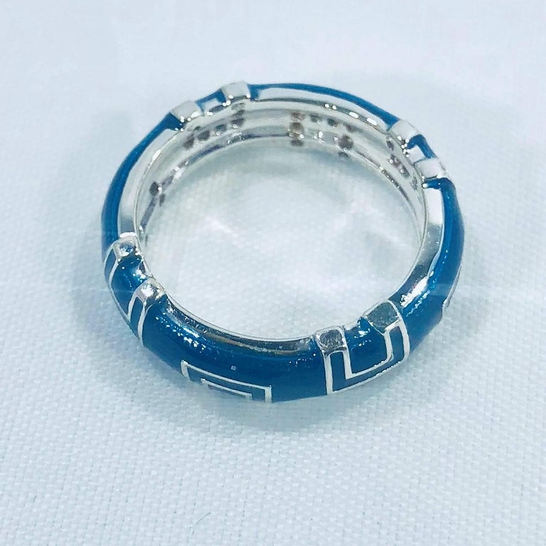 Women's or Men's Hidalgo 18 Karat White Gold and Diamond with Bright Blue Enamel Band Ring For Sale