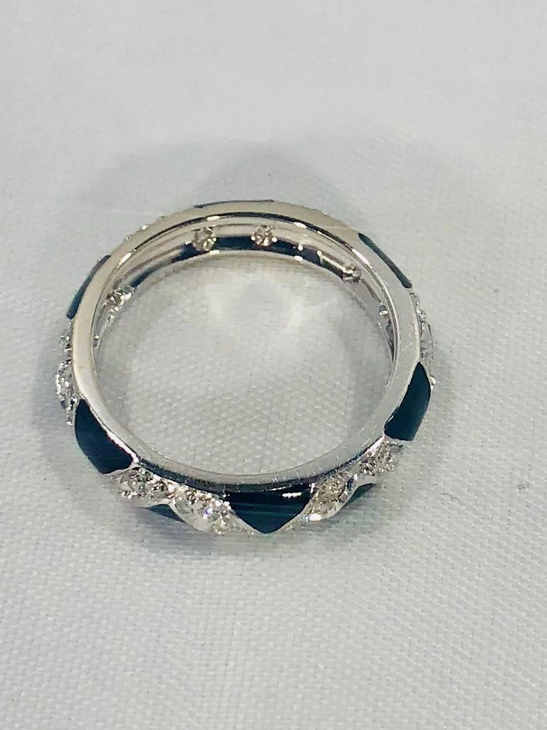 Round Cut Hidalgo 18 Karat White Gold Diamonds and Black Enamel Stackable Band Ring For Sale
