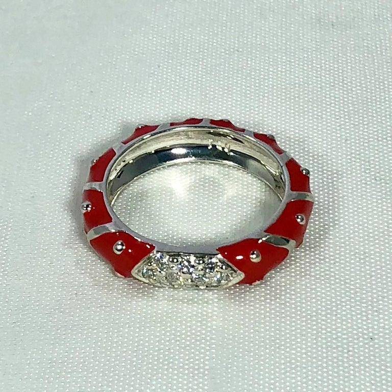 Hidalgo 18 Karat White Gold Diamonds and Red Enamel Stackable Ring For Sale 4