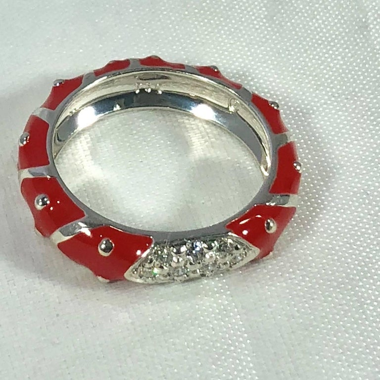 Hidalgo 18 Karat White Gold Diamonds and Red Enamel Stackable Ring For Sale 3