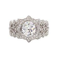 Hidalgo 18 Karat White Gold Star Halo and Lace Diamond Setting