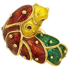 Hidalgo 18 Karat Yellow Gold and Enamel Parrot Ring