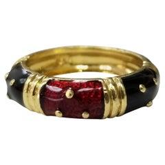 Hidalgo 18 Karat Yellow Gold and Enamel Ring