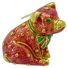 Hidalgo 18 Karat Yellow Gold and Pink Enamel Pig Brooch