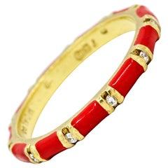 Hidalgo 18 Karat Yellow Gold Diamond Red Enamel Band Ring