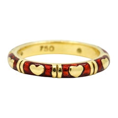 Hidalgo 18 Karat Yellow Gold Red Enamel Hearts Band Ring