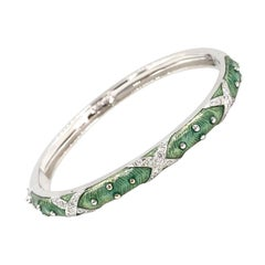 Hidalgo 18 Karat White Gold Light Green Enamel and Diamond Bangle Bracelet