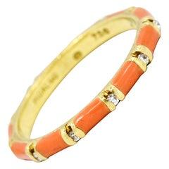 Hidalgo 18 Karat Yellow Gold Diamond Pink Enamel Band