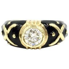 Hidalgo Black Enamel and 0.72 Carat Diamond Ring
