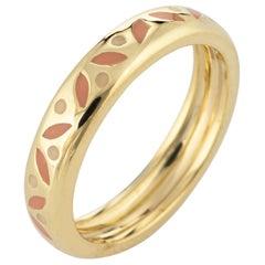Hidalgo Enamel Band Pink Creme Pattern 18 Karat Yellow Gold Estate Jewelry