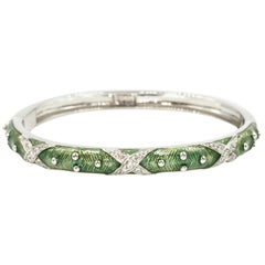 Hidalgo Green Enamel and Diamond 18 Karat Bangle Bracelet