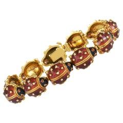 Hidalgo Ladybug 18 Karat Yellow Gold and Enamel Bracelet