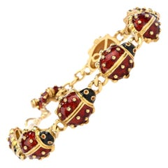 Hidalgo Ladybug Red Enameled 18 Karat Gold Link Bracelet