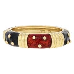 Hidalgo Patterned Stacking Ring, 18 Karat Gold Red and Black Enamel Band