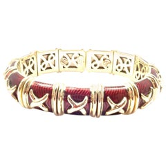 Hidalgo Red Enamel X Flexible Cuff Yellow Gold Bangle Bracelet