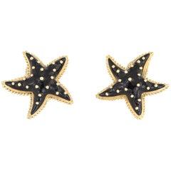 Hidalgo Starfish Earrings Black Enamel 18 Karat Yellow Gold Large Estate Jewelry