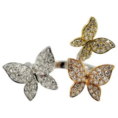 Hidalgo Tricolor Gold and Diamond Butterfly Ring