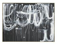 """""""Hidden Figures #3"""" Gray & White Original Painting by Karina Gentinetta 72""""x96"""""""