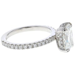 Hidden Halo 2 Carat Radiant Diamond Engagement Ring in Platinum 'Certified' Plat