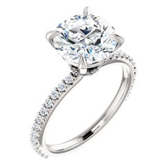 Hidden Halo Diamond Accented GIA Certified Round Brilliant Engagement Ring