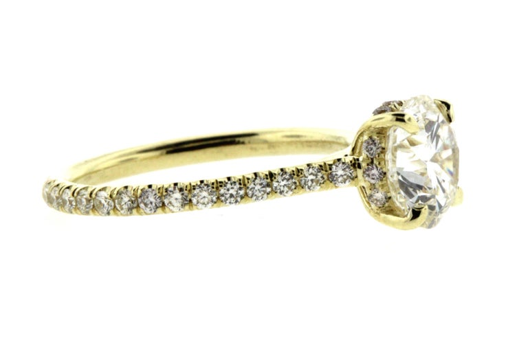 Modern Hidden Halo Diamond Engagement Ring Yellow Gold Setting with Diamond Pave For Sale