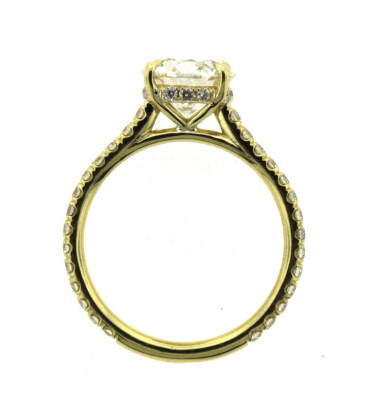 Round Cut Hidden Halo Diamond Engagement Ring Yellow Gold Setting with Diamond Pave For Sale