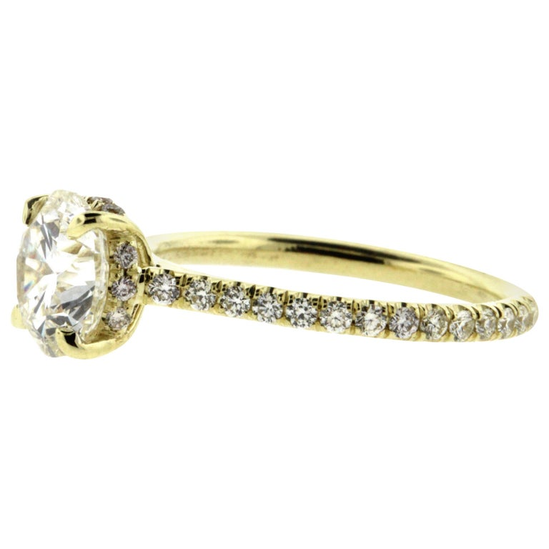Hidden Halo Diamond Engagement Ring Yellow Gold Setting with Diamond Pave For Sale