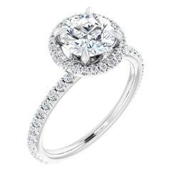 Hidden Halo GIA Certified Round Brilliant Diamond Engagement Ring 1.30 Carat