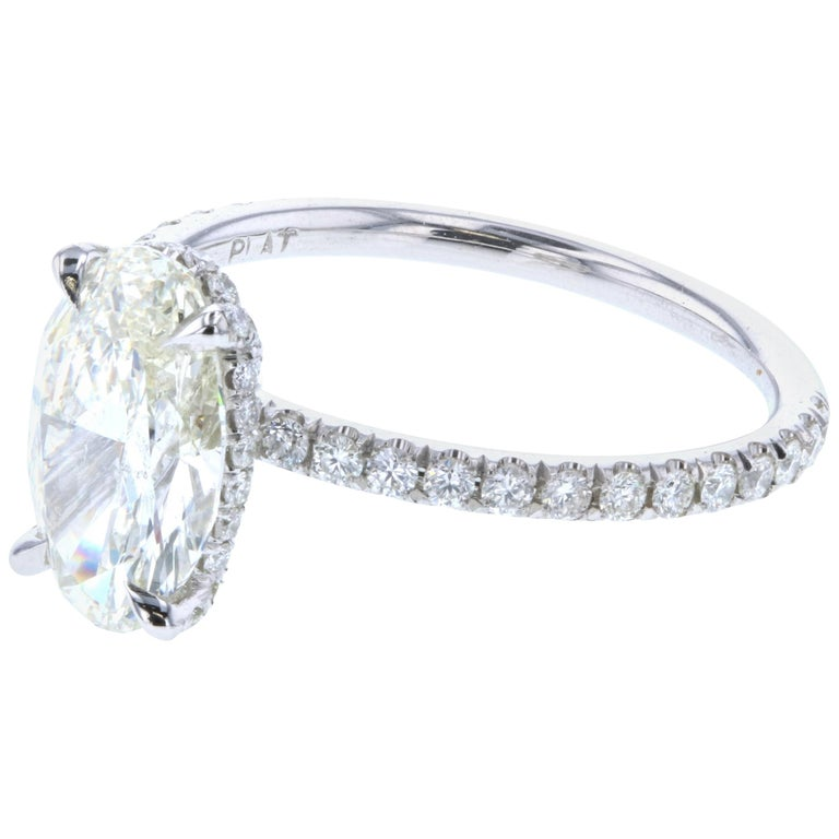 4a9b5fd4383962 Hidden Halo Oval Diamond Engagement Ring GIA For Sale at 1stdibs