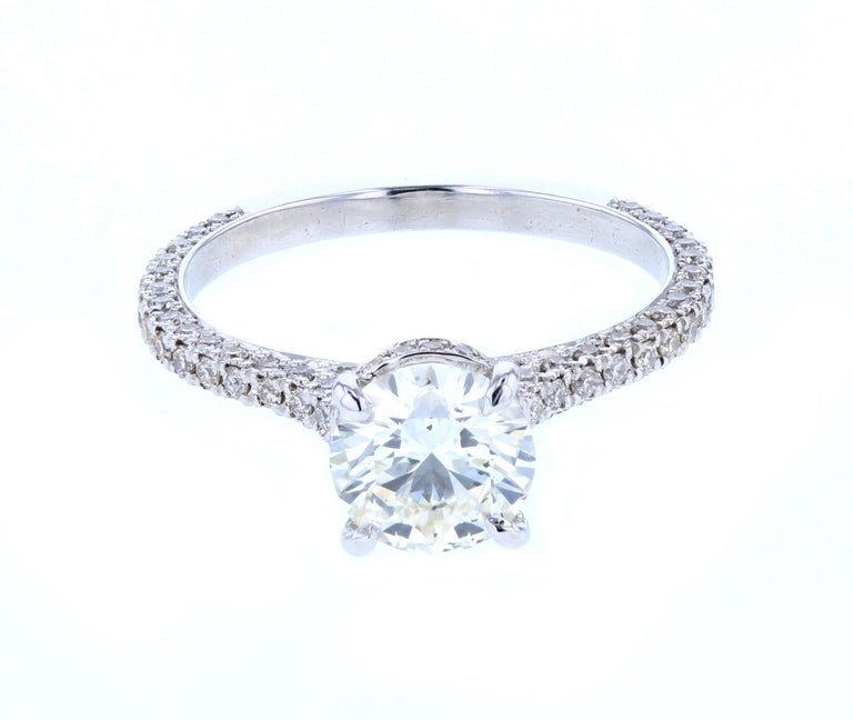 Modern Hidden Halo Round Diamond Engagement Ring 'Certified' Platinum Diamond Setting For Sale