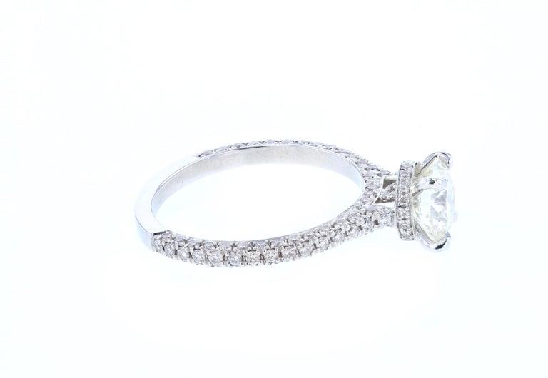 Round Cut Hidden Halo Round Diamond Engagement Ring 'Certified' Platinum Diamond Setting For Sale
