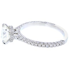 Hidden Halo Round Diamond Engagement Ring 'Certified' Platinum Diamond Setting